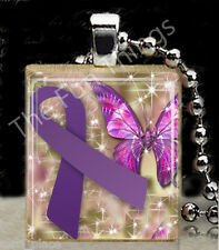 Purple Ribbon Scrabble Tile Pendant Jewelry Domestic Abuse Awareness Support B
