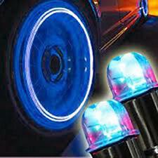 2 Tapones Desde Válvula LED Luminoso Azul Metal Coche Moto Ciclomotor Bicicleta