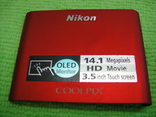 GENUINE NIKON COOLPIX S80 FRONT CASE COVER RED REPAIR PARTS