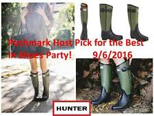 Hunter Limited Rag & Bone Black-Green 2-Tone Rubber Rain Zipper Boots US 8 EU 39