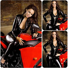 Women Lingerie Faux Leather Bodysuit Wet Look Catsuit Jumpsuit Clubwear Costume