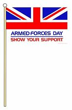 "ARMED FORCES DAY medium HAND WAVING FLAG 9""X6"" 22.5cm x 15cm BRITISH MILITARY"