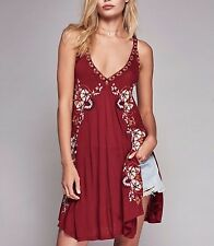3703 New Free People Star Chaser Floral Embroidered Red Vintage Tunic Dress XS