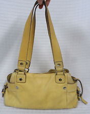 FOSSIL Golden CASTILLE Yellow LEATHER Purse SHOULDER Bag SATCHEL Pebbled *Read