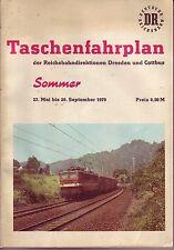 Taschen-Fahrplan Reichsbahndirektionen Dresden und Cottbus 1979