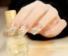 24Pcs Bride Wedding 3D False Artificial Fake Nails Tips French Fashion Style hot