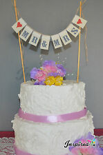 Mr & Mrs Wedding Cake Topper Mini Bunting Banner Topping Engagement Birthday
