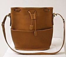 Vtg COACH Tan Leather Cinch SHOULDER Bag Bucket Purse SZ 10x11 Authentic USA