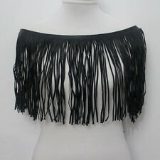 1yard Black Faux Leather Fringe Tassel Trimming Lace For Sewing Width 24.5cm