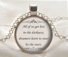Book quote Cabochon Glass silver necklace for women men Jewelry Q#177