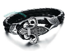 Korean Bigbang G-Dragon Genuine Leather Fleur-de-lis Gem Pin Bracelet Bangle
