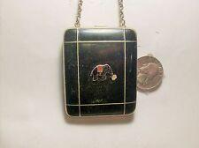 BLACK ENAMEL ELEPHANT COMPACT----1930,s---------REPAIR OR CRAFTS---------VINTAGE