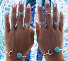 6PCS/Set New Women Punk Turquoise Arrow Moon Stacking Midi Rings Fashion Jewelry