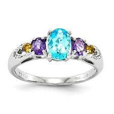 STERLING SILVER  SWISS BLUE TOPAZ, AMETHYST,  CITRINE & DIAMOND  RING - SIZE 5