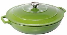 Chasseur Cast Iron - Avocado Green   Low Round Casserole 30cm 2.5Ltr (Made in Fr