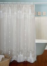 Heritage Lace SHOWER CURTAIN Lighthouse 72x72 White Made in USA