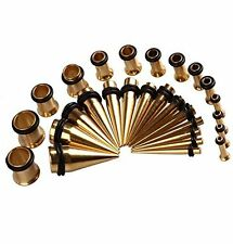 Ear Stretching Kit. Plugs & Tapers Ion plated Set 28pc Gauges 12g-0g