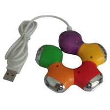 High Quality Colorful Flower Rotatable USB 2.0 4 Port Hub Splitter Cable Adapter