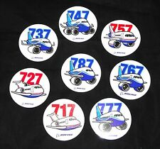 Boeing 717 727 737 747 757 767 777 787 Pudgy Sticker Decal Pack Set Plane Pilot