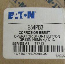 EATON CUTLER HAMMER E34 PB3 Green Flush Head Corrosion Resistant Push Button