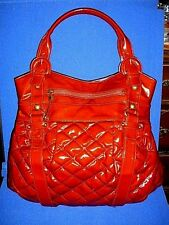 Maxx New York Shiny Red Quilted Buckle Strapped Shopper Shoulder Tote Bag