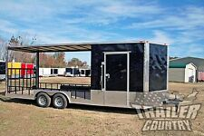 NEW 2016 8.5X22 V NOSE ENCLOSED CARGO UTILITY HYBRID TRAILER TOY HAULER W/ PORCH