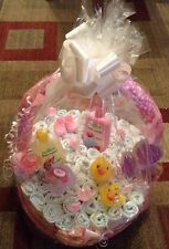 Handmade Baby Girl Pink Gift Basket Diaper Cake ~ Made To Order  ������