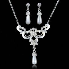 White Faux Pearl Elegant Hollow Butterfly Pendant Chain Necklace Earrings Sets