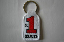 """NO 1 DAD"" EMBROIDERY KEYRING GIFT EMBROIDERED PATCH BADGE KEY CHAIN CHROME RING"