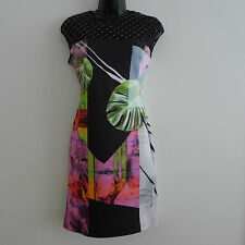 CLOVER CANYON Painted Garden NEOPRENE PERFORATED DRESS S BODYCON Scuba FLORAL !