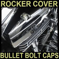 NICKEL 44 MAG BULLET BOLT CAPS for HARLEY SPORTSTER ROCKER BOX (SET OF 4)    b/u