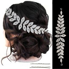 Bridal Crystal Silver Hair Accessories Flexible Headband Crown Tiara Band