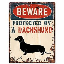 PP2094 BEWARE PROTECTED BY A DACHSHUND Rustic Plate Chic Sign Home Door Decor