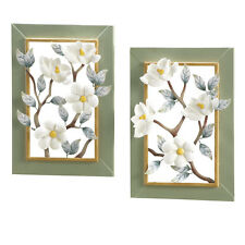 Collections Etc 3D Magnolia Blossoms Metal Wall Art - Set of 2