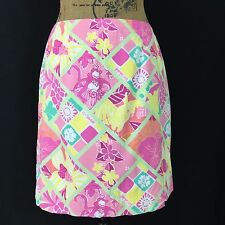 Lilly Pulitzer skirt 6 Medium pastel multi color monkey hula parrot floral LN