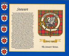 "SCOTTISH TARTAN & YOUR SURNAME HISTORY PRINT 10"" x 8"" & FREE GIFT New designs"