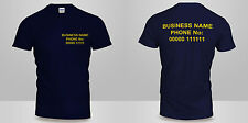 Mens or Ladies Personalised Custom FRONT & BACK Printed Cotton T-Shirt Work wear