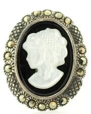 Vintage Sterling-Silver Marcasite Onyx Decorative Cameo Brooch/Pin