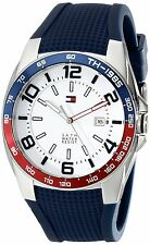 NEW MENS TOMMY HILFIGER (1790885) STAINLESS STEEL BLUE SILICONE STRAP WATCH