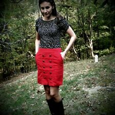 Anthropologie Brigadier Skirt Size 0, Red Pinwale Corduroy Pencil By Odille