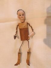 "UNUSUAL 10"" ANTIQUE BISQUE HEAD DOLL FRENCH OR GERMAN AUTOMATON PART"