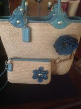 Coach Natural Straw Tote Bleecker Flower Blue Turquoise F13373 +Matching Wallet