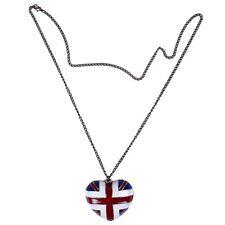 Vintage brass bronze tone Union Jack heart love pendant chain long necklace