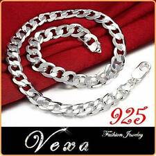 New Mens 925 Sterling Silver 8mm Necklace Curb Solid Link Chain 20'' UK NS02