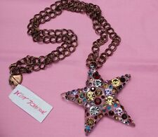 ♡ Betsey Johnson Necklace Confetti Crystal Lucite Star Huge Pendant Necklace