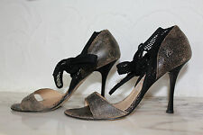 Galliano Sandalen High-Heels Pumps Used-Look Boot Leder Netz Peeptoe Gr.38 w.neu