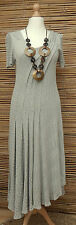 ZUZA BART*DESIGN EXCLUSIVE BEAUTIFUL PURE COTTON LONG DRESS*OATMEAL*SIZE M-L