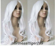 Hot Sell New Fashion Long Silver White Wavy Women's Lady's Hair Wig Wigs + Cap