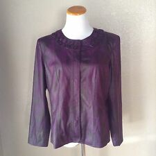 Chicos 2 Purple Faux Snakeskin Lizard Snap Front Long Sleeve Jacket 12 14 MINT