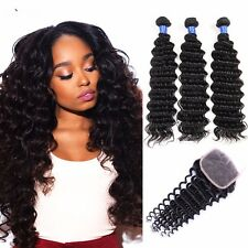 8A 300g/3bundles Unprocessed Brazillian Loose Deep Wave Human Hair & Closure